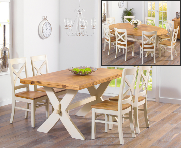 Bordeaux 165cm Oak and Cream All Sides Extending Table with Cavendish Chairs - Cream, 4 Chairs