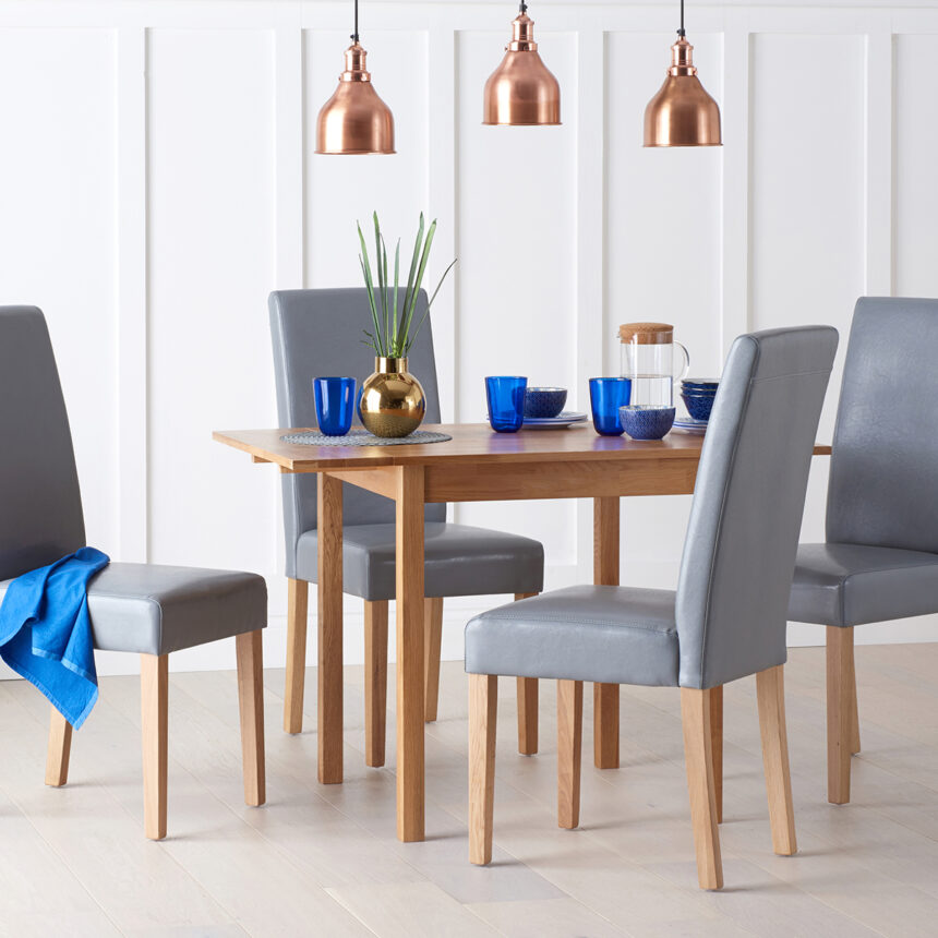 Oxford 70cm Solid Oak Extending Dining Table with Albany Grey Chairs